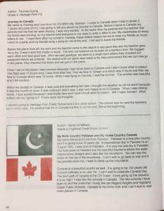 Bài viết của trẻ em người Việt định cư được đăng trên tập san kỷ niệm Canada 150 năm