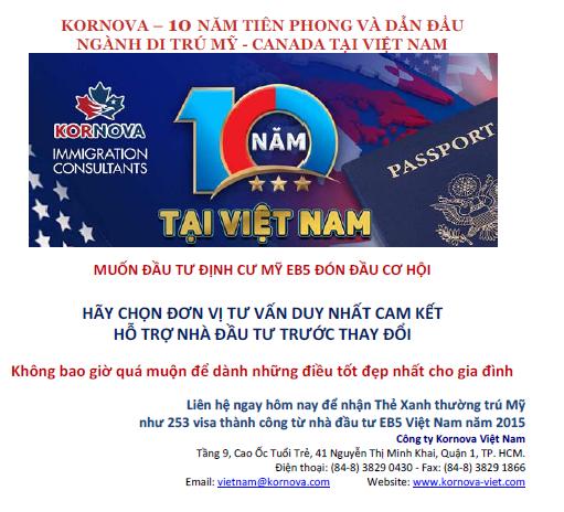 Nhà Đầu Tư EB5 Việt Nam Chỉ Còn 2 Tháng Để Quyết Định Đầu Tư Trước Khi Chương Trình Tăng Mức Đầu Tư Lên 800K USD