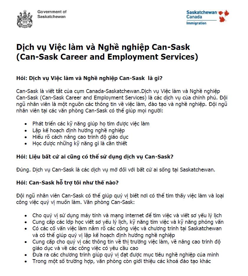 Dịch Vụ Việc Làm Và Nghề nghiệp CAN - SASK