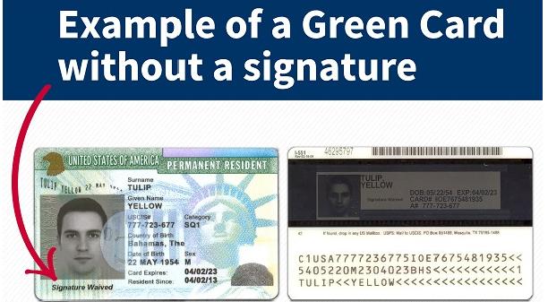 Bạn Có Biết? Thẻ xanh Hoa Kỳ không luôn luôn có chữ ký trên thẻ