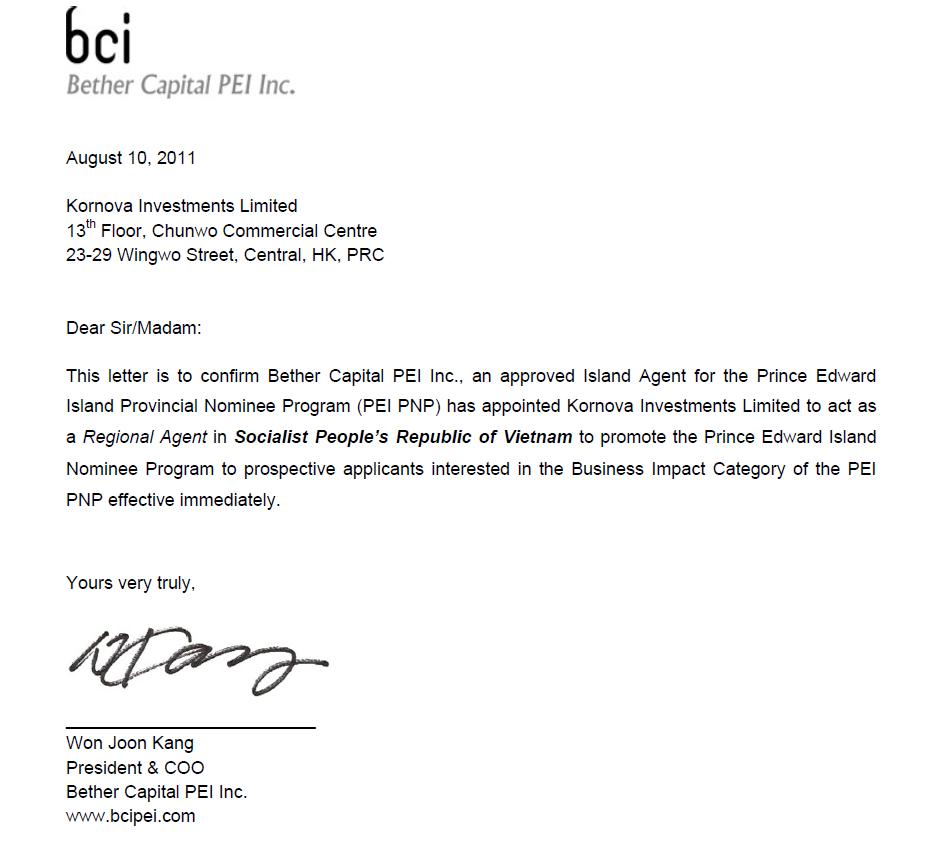 Kornova Giữ Vai Trò Đại Diện Khu Vực Cho Đại Diện Ủy Quyền Phát Triển Chương Trình Đề Cử Tỉnh Bang Prince Edward Island