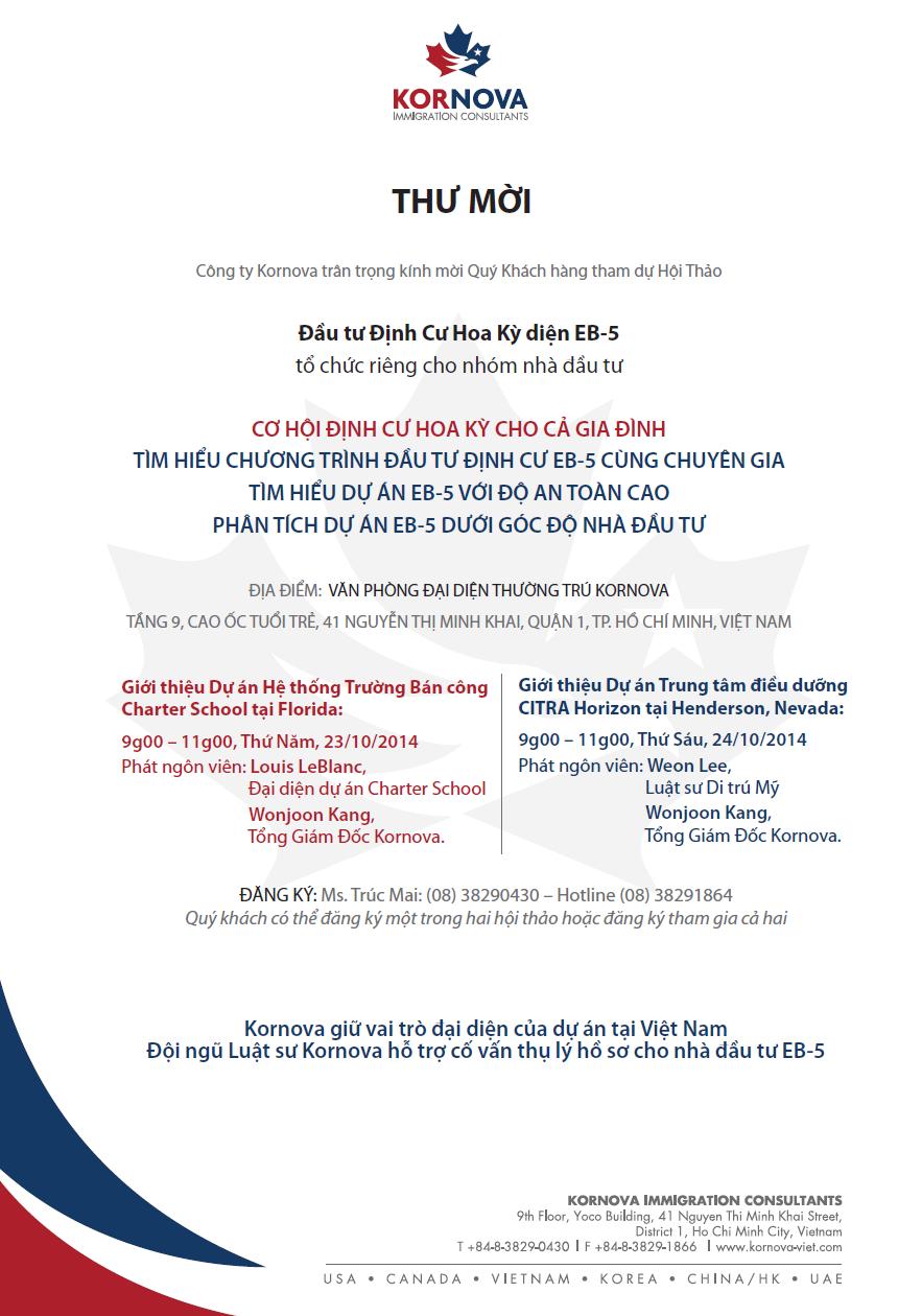 Hội Thảo Đầu Tư Định Cư Hoa Kỳ Diện EB5 - Tháng 10, 2014