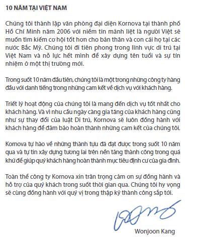 Kornova - Kỷ niệm 10 năm mang đến Việt Nam dịch vụ di trú xuất sắc