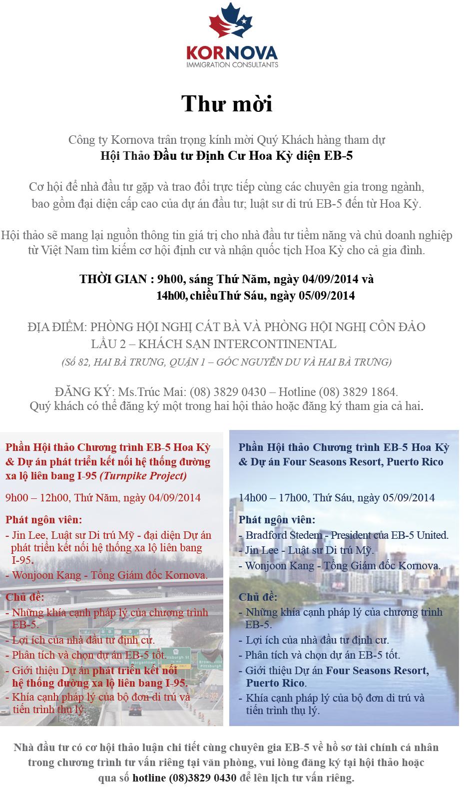 Hội Thảo Đầu Tư Định Cư Hoa Kỳ Diện EB5 – Tháng 9, 2014