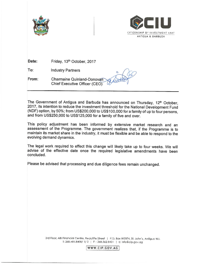 Chương Trình Đầu Tư Nhận Quốc Tịch Antigua & Barbuda Giảm 50% Yêu Cầu Đầu Tư