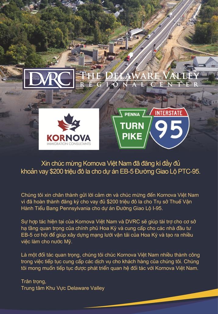 Trung tâm khu vực Delaware Valley cảm ơn Kornova Việt Nam hoàn tất thu hút đầu tư phát triển dự án hệ thống cao tốc liên bang I-95