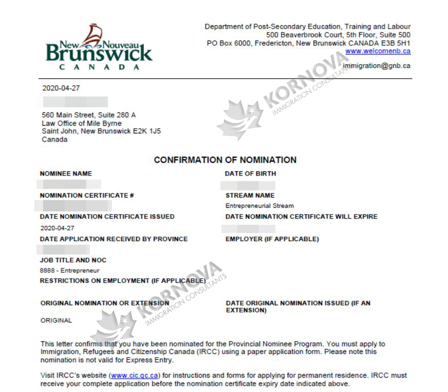 Chúc Mừng Khách Hàng Định Cư Của Kornova Nhận Thư Đề Cử Tỉnh Bang New Brunswick, Canada