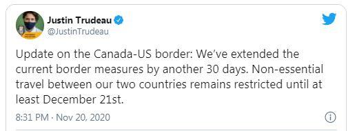 Canada Tiếp Tục Gia Hạn Đóng Cửa Biên Giới Với Mỹ Thêm 30 Ngày